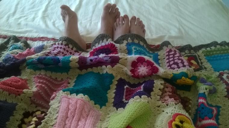 Granny square camping blanket