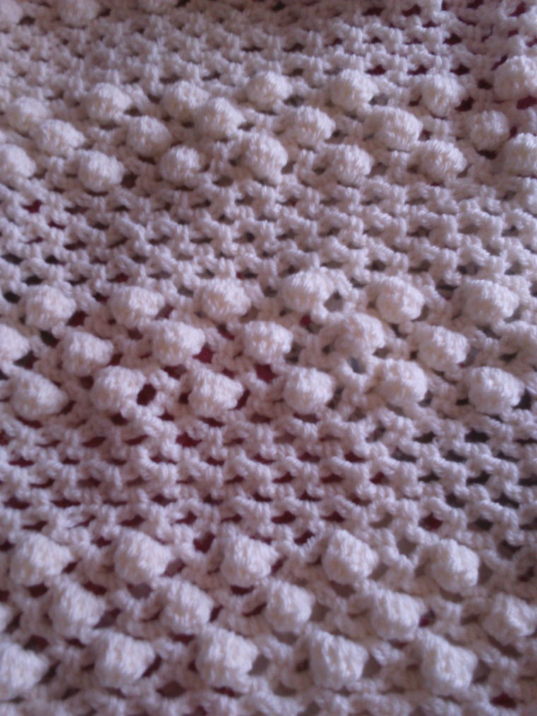 rows of popcorn stitches