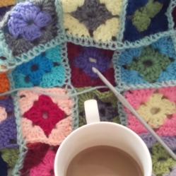 crochet granny squareblanket with bobble edging