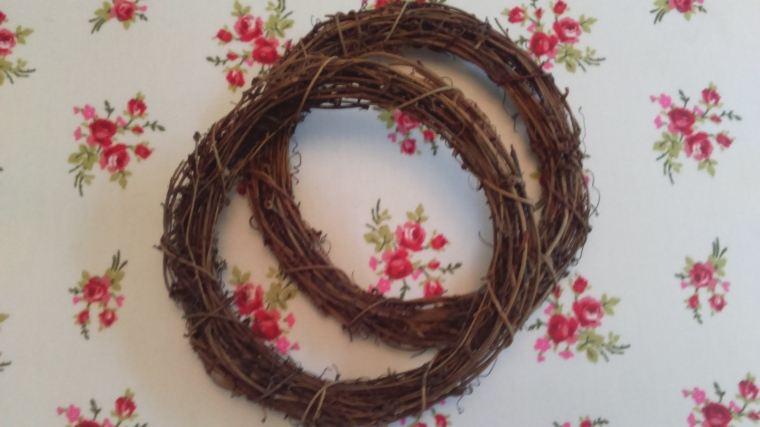 wreaths...these are bought, cost £1 each, but you could make one from some coat hanger wire...