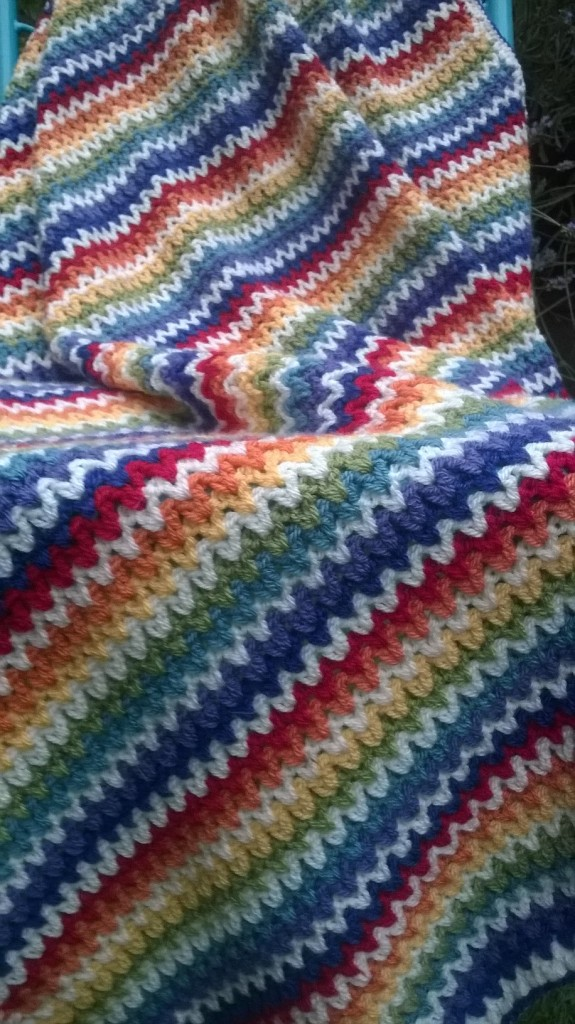 crochet v stitch blanket, rainbow blanket