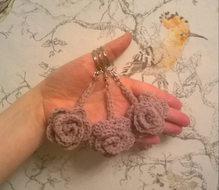 May rose keyrings.... pattern by Attic 24