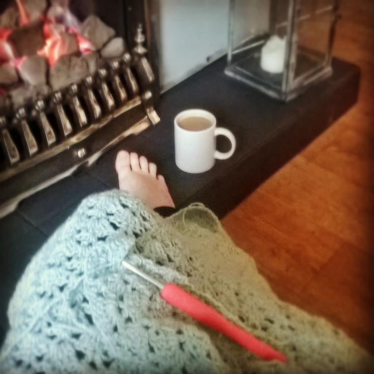 crochet by the fireside.