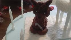 Chocolate brown alpaca and a cute little hook