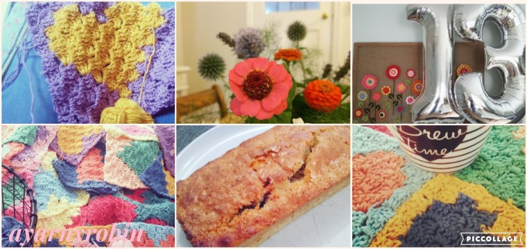 Homemade August, crochet, coffee, banana loaf and garden flowers