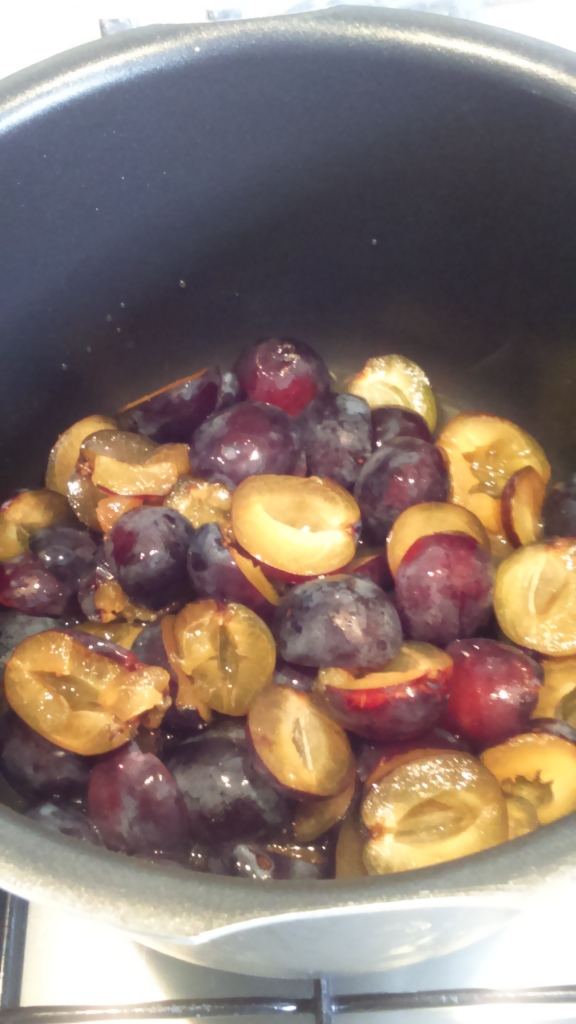 making homemade plum jam