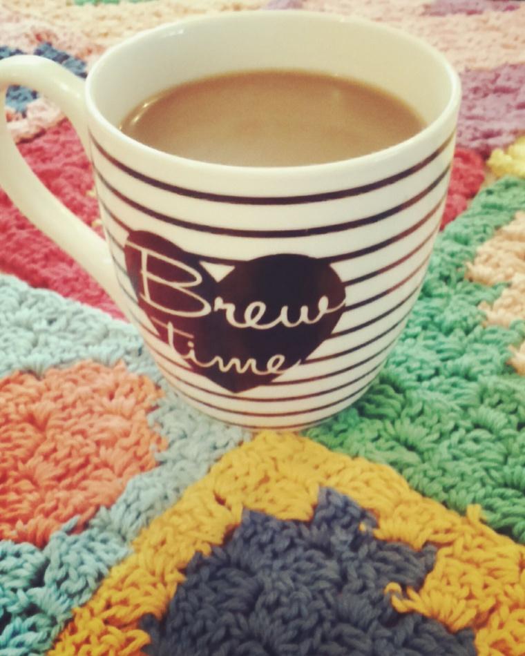 C2C crochet baby blanket, crochet heart squares in paintbox cotton yarn