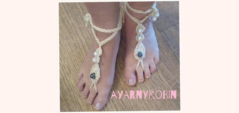 crochet barefoot sandals designed by ayarnyrobin.wordpress.com, summer feet