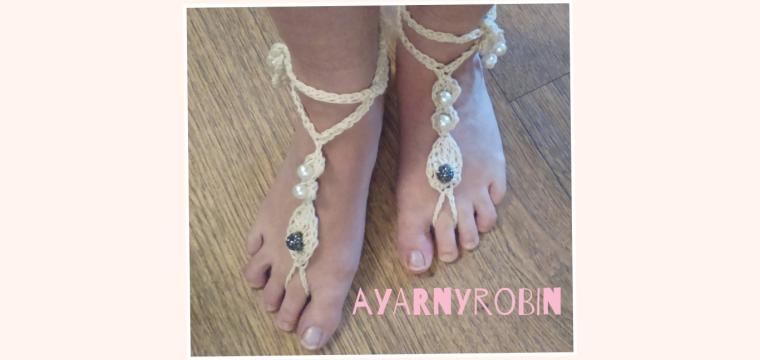 crochet barefoot sandals designed by ayarnyrobin.wordpress.com, summer feet