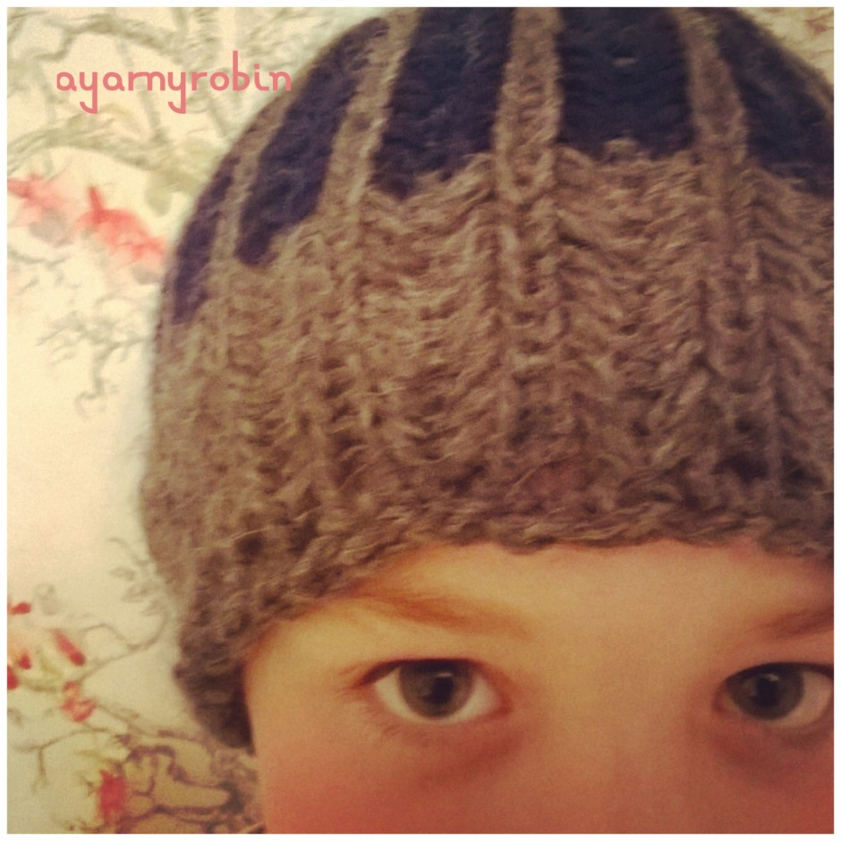 loom knitted beanie hat