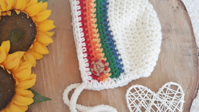 rainbow baby bonnet