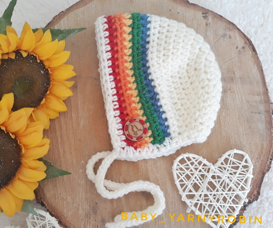 rainbow baby bonnet